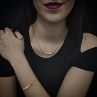 Unikatni komplet od kirurškog čelika, zlatna boja lančića sa riječnim biserima