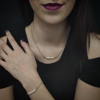 Unikatni komplet od kirurškog čelika, srebrna boja  lančića sa riječnim biserima