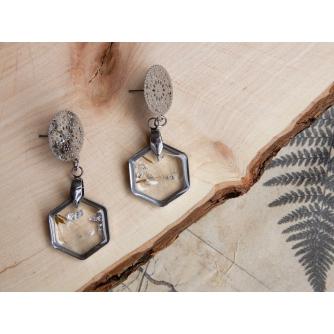 Dandelion Naušnice – Hexagonal Silver