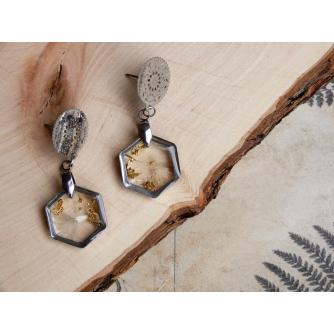 Dandelion Naušnice – Hexagonal Gold